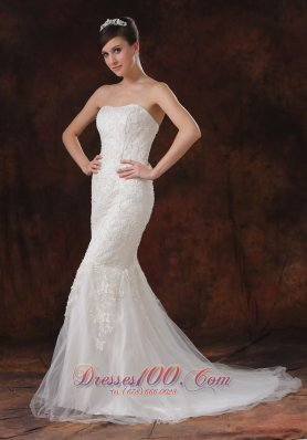 Mermaid Lace Sweep Train Bridal Wedding Dress