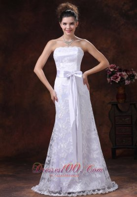 Lace Sash Column Strapless Bridal Wedding Dress