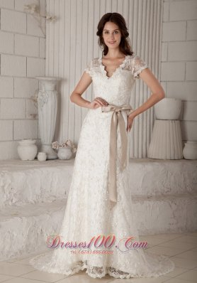 V Neck Sash Lace Brush Bridal Wedding Dress