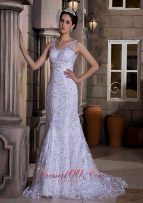 V Neck Mermaid Lace Court Wedding Dress Bridal