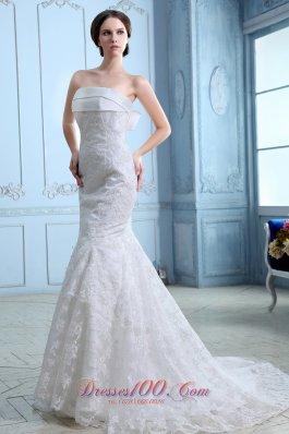 Satin Mermaid Court Train Lace Wedding Dress