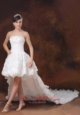 Beautiful High-low White Wedding Dress Rolling Flowers