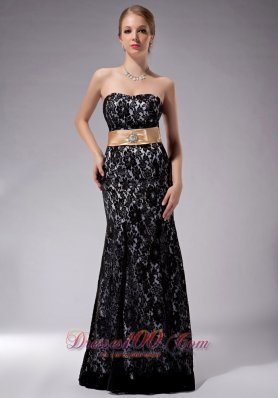 Sashed Black Mother Of The Bride Dress Lace Overlay