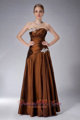 Ruched Strapless Mothers Dresses For Weddings Brown