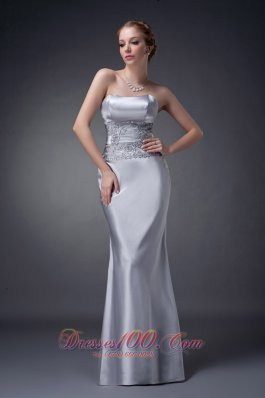 Silver Fitted Mother Of The Bride Dress With Open Back