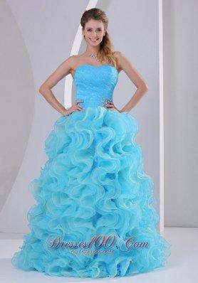 Beaded Decorate Up Bodice Ruffles Prom Dress