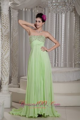 Yellow Green Prom Dress Beading Customize