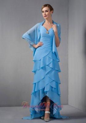 Sky Blue V-neck Mother Of The Bride Dress Straps