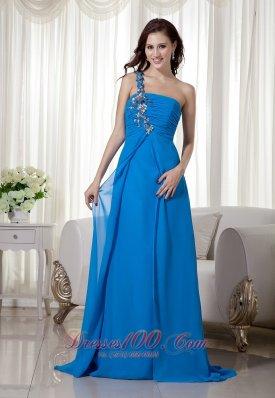 Blue One Shoulder Evening Dress for Prom Back Cut