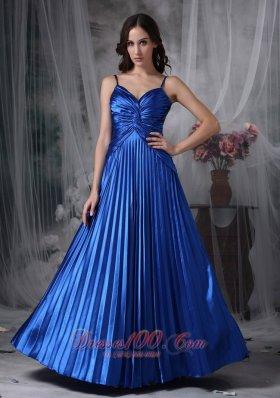 Royal Blue A-line Straps Evening Dress Ruch