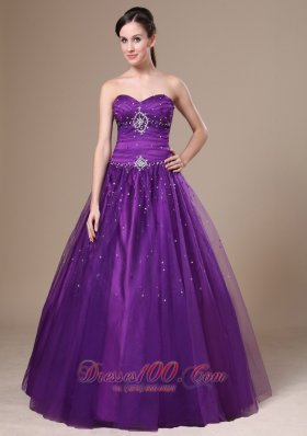 Purple A-Line Beading Prom Dress Sweetheart