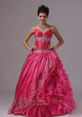 Ruffled Layers Hot Pink Organza Prom Dress