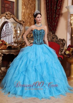 Aqua Blue Quinceanera Dress Sweetheart Embroidery Ruffles