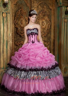 Rose Pink and Zebra Print Pick-ups Boning Sweet 15 Dress