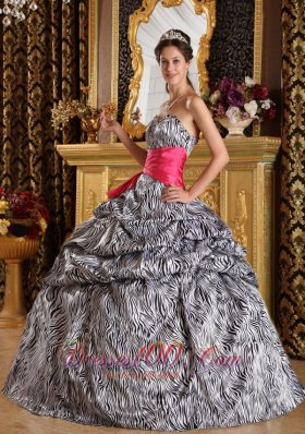 Zebra Print Quinceanera Dress Strapless Sash