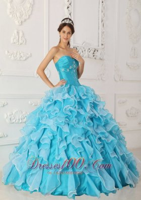 Ruffles Sky Blue Quinceanera Dress Floor Length