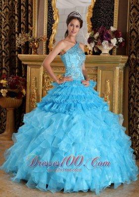 One Shoulder Aqua Blue Quinceanera Dress Beading