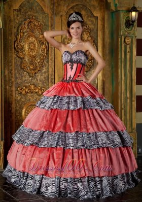 Layered Watermelon and Zebra Princesita Quinceanera Dress
