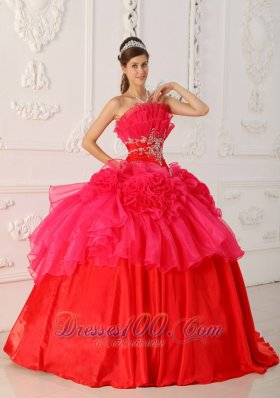 Red Princesita Quinceanera Dress Hand Made Flower