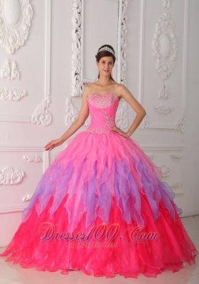 Multi-colored Quinceanera Dress Beading Decorate