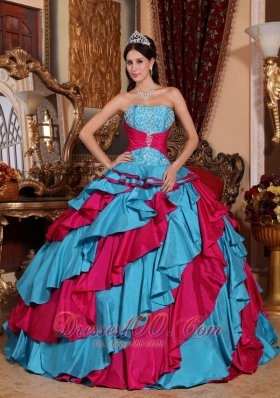Dresses for 15 Aqua Blue and Red Multi-tired Floor-length