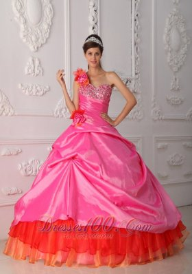 Rose Pink and Orange Quince Dress Hand Made Flower One Shoulder