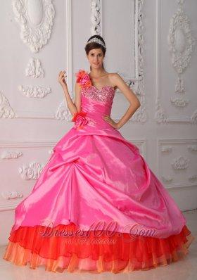 Rose Pink and Orange Quince Dress Hand Made Flower One Shoulder