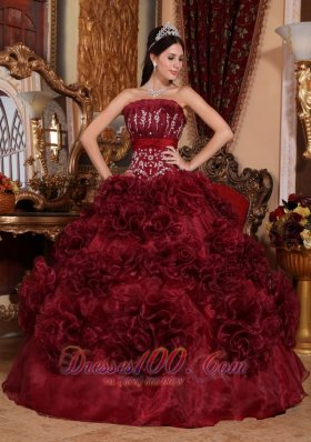 Burgundy Quinceanera Dress Strapless Ball Gown