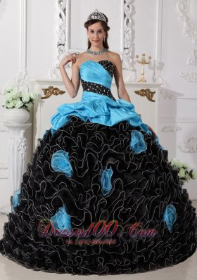 Black and Aqua Blue Quinceanera Dress Pick-ups Sweetheart