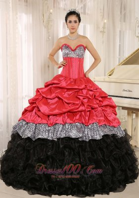 Zebra Print Hot Pink and Black Sweetheart Pink-ups Dresses for Quince