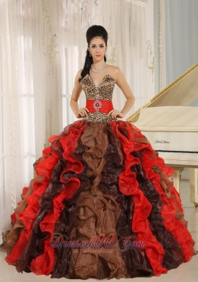 Deep Sweetheart multi-color Quinceanera Dress Ruffles