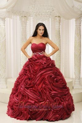 Unique Rolling Flower Sweetheart Ball Gown Dress for Quince