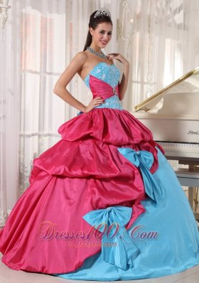 Aqua and Pink Multi-tierd Quinceanera Dress