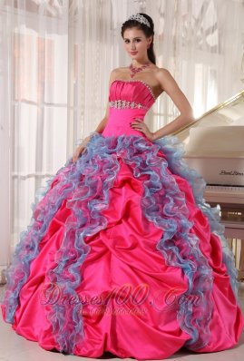 Hot Pink and Aqua Blue Taffeta and Organza Sweet 15 Dress Beading