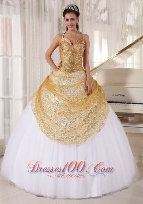 Informal Champagne and White Quinceanera Dress Halter