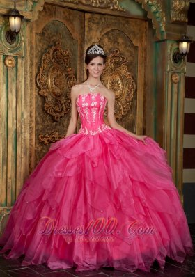 Hot Pink Quinceanera Applique Layer Puffy Sweet 15 Dress