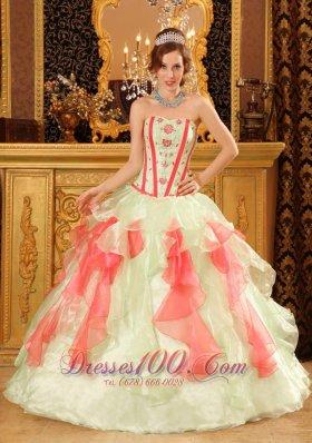 Multi-color Boning A-line Layer Quinceanera Dress