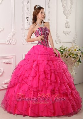 Hot Pink Layer Flower Print Bodice Sweet 16 Dress