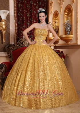 Gold 2013 Quinceanera Dress Sequin Fabric Beading