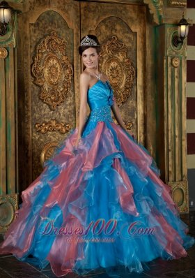 Multi-tiered Blue and Watermelon Quinceanera Dress Princess