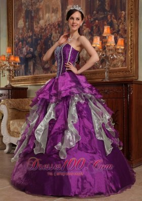 Purple Sweetheart Boning and Ruffle Dress for Quinceanera