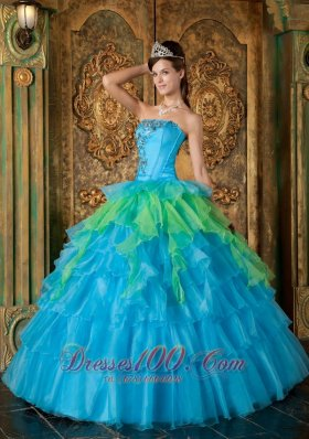 Strapless Blue and Green Ball Gown Quinceanera Dress
