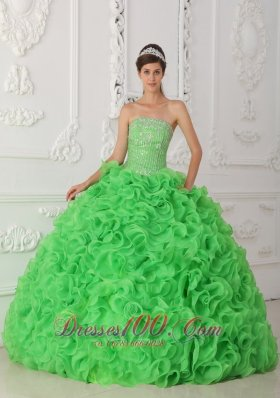 Rolling Flower Beading Strapless Ball Gown Green Quinceanera