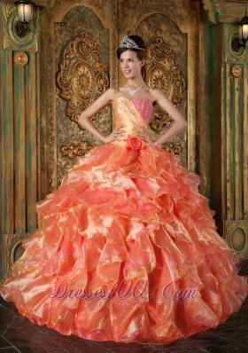 Orange and Strapless Sweetheart Ball Gown Ruched Quinceanera