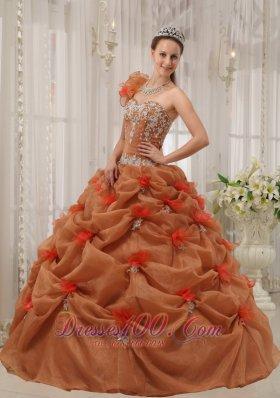 Rust Red Quinceanera Dress One Shoulder Handmade Flower Pick-ups