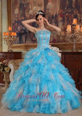 Aqua Quinceanera Gown Strapless Ruffles Hand Made Flower