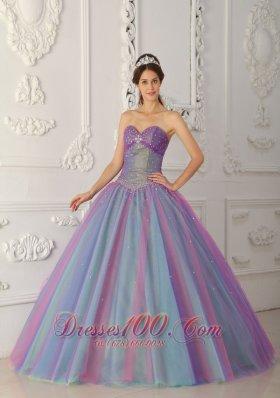 Colorful Sweetheart Beading A-line Sweet 15 Dress