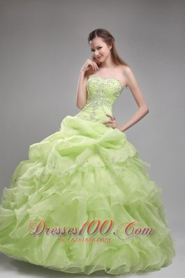 Yellow Green Quinceanera Dress Pick-ups Beading