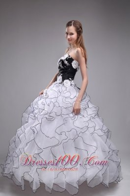 Hot White and Black Sweet 16 Dress Layer