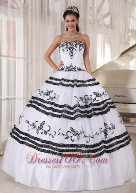 Black and White Embroidery Ball Gown Quinceanera Dress
